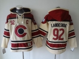 Colorado Avalanche #92 Gabriel Landeskog Cream Sawyer Hooded Sweatshirt Stitched NHL Jersey