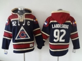 Colorado Avalanche #92 Gabriel Landeskog Navy Blue Sawyer Hooded Sweatshirt Stitched NHL Jersey