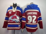 Colorado Avalanche #92 Gabriel Landeskog Red Sawyer Hooded Sweatshirt Stitched NHL Jersey