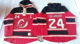 New Jersey Devils #24 Bryce Salvador Red Sawyer Hooded Sweatshirt Stitched NHL Jersey