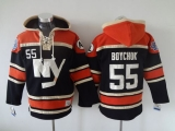 New York Islanders #55 Johnny Boychuk Dark Blue Sawyer Hooded Sweatshirt Stitched NHL Jersey