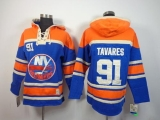 New York Islanders #91 John Tavares Baby Blue Sawyer Hooded Sweatshirt Stitched NHL Jersey