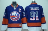New York Islanders #91 John Tavares Baby Blue USA Flag Fashion Stitched NHL Jersey