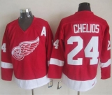 Detroit Red Wings #24 Chris Chelios Red CCM Throwback Stitched NHL Jersey