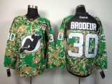 New Jersey Devils #30 Martin Brodeur Camo Veterans Day Practice Stitched NHL Jersey