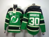 New Jersey Devils #30 Martin Brodeur Green St Patrick\'s Day McNary Lace Hoodie Stitched NHL Jersey