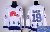 Autographed Quebec Nordiques #19 Joe Sakic Stitched CCM Throwback white NHL Jersey