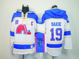 Autographed Quebec Nordiques #19 Joe Sakic White Sawyer Hooded Sweatshirt Stitched NHL Jersey