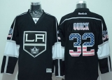 Los Angeles Kings #32 Jonathan Quick Black USA Flag Fashion Stitched NHL Jersey