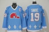 Nordiques #19 Joe Sakic Light Blue CCM Throwback Stitched NHL Jersey