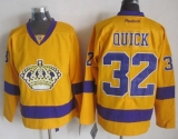 Los Angeles Kings #32 Jonathan Quick Gold Alternate Stitched NHL Jersey