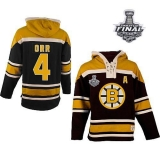 Boston Bruins Stanley Cup Finals Patch #4 Bobby Orr Black Sawyer Hooded Sweatshirt Stitched NHL Jersey