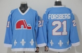 Nordiques #21 Peter Forsberg Light Blue CCM Throwback Stitched NHL Jersey