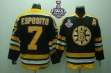 Boston Bruins Stanley Cup Finals Patch #7 Phil Esposito Stitched Black CCM Throwback NHL Jersey