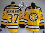 Boston Bruins Stanley Cup Finals Patch #37 Patrice Bergeron Stitched Winter Classic Yellow NHL Jersey