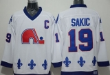 Quebec Nordiques #19 Joe Sakic Whtie CCM Throwback Stitched NHL Jersey