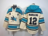 San Jose Sharks #12 Patrick Marleau Cream Sawyer Hooded Sweatshirt Stitched NHL Jersey