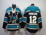 San Jose Sharks #12 Patrick Marleau Teal Sawyer Hooded Sweatshirt Stitched NHL Jersey