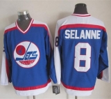 Winnipeg Jets #8 Teemu Selanne Blue White CCM Throwback Stitched NHL Jersey