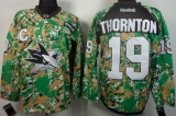 San Jose Sharks #19 Joe Thornton Camo Veterans Day Practice Stitched NHL Jersey