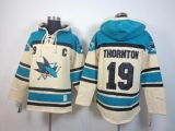 San Jose Sharks #19 Joe Thornton Cream Sawyer Hooded Sweatshirt Stitched NHL Jersey