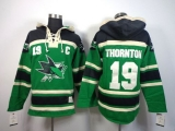 San Jose Sharks #19 Joe Thornton Green St Patrick\'s Day McNary Lace Hoodie Stitched NHL Jersey