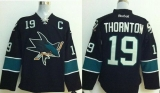 San Jose Sharks #19 Joe Thornton Stitched Black NHL Jersey