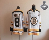 CCM Throwback Boston Bruins Stanley Cup Finals Patch #8 Cam Neely White Stitched NHL Jersey