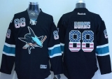 San Jose Sharks #88 Brent Burns Black USA Flag Fashion Stitched NHL Jersey