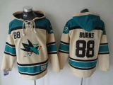 San Jose Sharks #88 Brent Burns Cream Sawyer Hooded Sweatshirt Stitched NHL Jersey