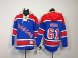 New York Rangers #61 Rick Nash Blue Sawyer Hooded Sweatshirt Stitched NHL Jersey