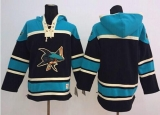 San Jose Sharks Blank Black Sawyer Hooded Sweatshirt Stitched NHL Jersey