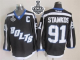 Tampa Bay Lightning #91 Steven Stamkos Black Third 2015 Stanley Cup Stitched NHL Jersey