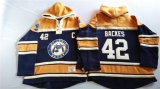 St Louis Blues #42 David Backes Navy Blue Gold Sawyer Hooded Sweatshirt Stitched NHL Jersey