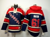 New York Rangers #61 Rick Nash Navy Blue Sawyer Hooded Sweatshirt Stitched NHL Jersey