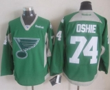 St Louis Blues #74 T J Oshie Green Practice Stitched NHL Jersey