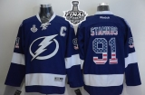 Tampa Bay Lightning #91 Steven Stamkos Blue USA Flag Fashion 2015 Stanley Cup Stitched NHL Jersey