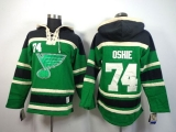 St Louis Blues #74 T J Oshie Green St  Patrick\'s Day McNary Lace Hoodie Stitched NHL Jersey