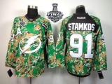 Tampa Bay Lightning #91 Steven Stamkos Camo Veterans Day Practice 2015 Stanley Cup Stitched NHL Jersey