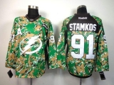 Tampa Bay Lightning #91 Steven Stamkos Camo Veterans Day Practice Stitched NHL Jersey