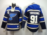 St Louis Blues #91 Vladimir Tarasenko Navy Blue Sawyer Hooded Sweatshirt Stitched NHL Jersey