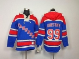 New York Rangers #99 Wayne Gretzky Blue Sawyer Hooded Sweatshirt Stitched NHL Jersey