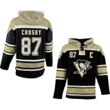 Pittsburgh Penguins #87 Sidney Crosby Black Sawyer Hooded Sweatshirt Stitched NHL Jersey