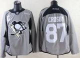 Pittsburgh Penguins #87 Sidney Crosby Grey Practice Stitched NHL Jersey