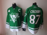 Pittsburgh Penguins #87 Sidney Crosby Stitched Green St Patty\'s Day NHL Jersey