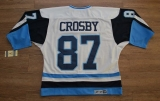 Pittsburgh Penguins #87 Sidney Crosby Stitched White Blue CCM Throwback NHL Jersey