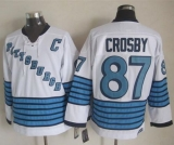 Pittsburgh Penguins #87 Sidney Crosby White Light Blue CCM Throwback Stitched NHL Jersey