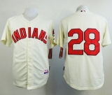 Cleveland Indians #28 Corey Kluber Cream Cool Base Stitched MLB Jersey