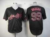 Cleveland Indians #99 Ricky Vaughn Black Fashion Stitched MLB Jersey