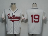 Mitchell And Ness 1948 Cleveland Indians #19 Bob Feller Cream Stitched Throwback MLB Jersey